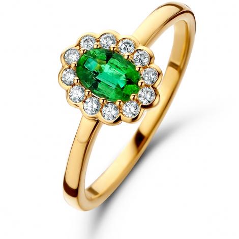Bague Emeraude et Diamants en Or Jaune diamant Sauvahna - 060732EA