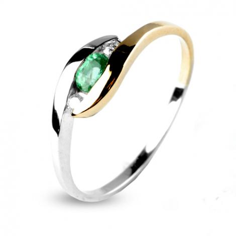 Bague Emeraude seris de deux diamants deux ors en 2 Ors diamant Coralie - 12574-EM