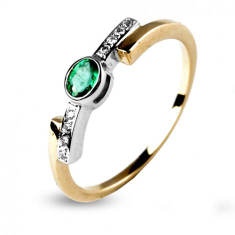 Bague émeraude sertie de diamants deux ors en 2 Ors diamant Mathilda - 12585-EM