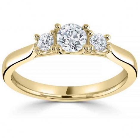 Bague or et diamant trilogie 0.50 ct - Dahlia - R3-2024