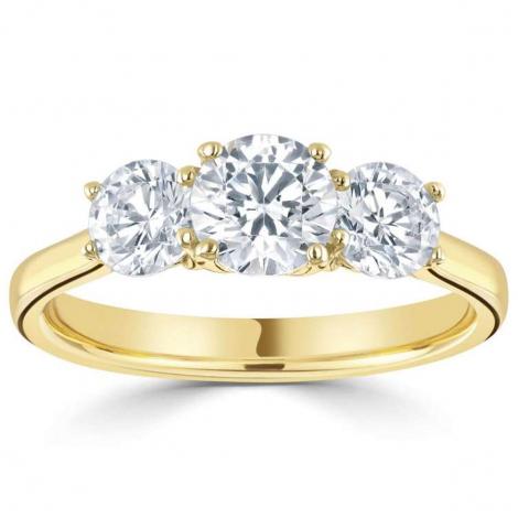 Bague or et diamant trilogie 0.57 ct - Hélène - R3-145