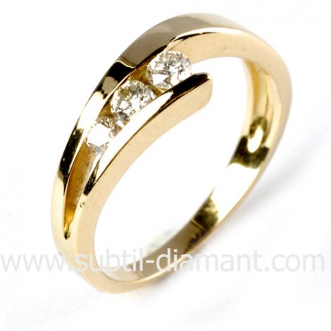 Bague or jaune 3 diamants 0.36 ct - Claire - 11932 BT 0.36