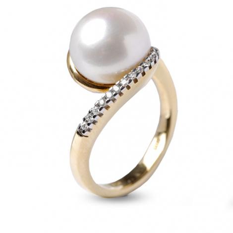 Bague perle blanche 10.5 mm Maiya