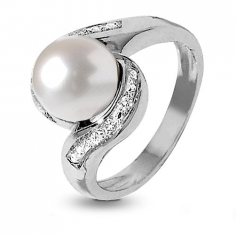 Bague perle blanche 9 mm Hina