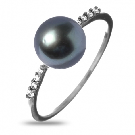 Bague en or blanc perle de Tahiti et diamants