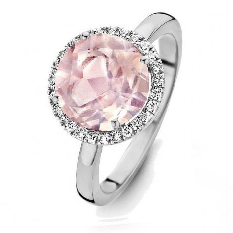 Bague Quartz Rose et diamants One More 0.16 ct  - Etna 053652XA