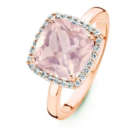 Bague Quartz Rose et Diamants One More - Etna 0.22 ct  - Etna 053983XA