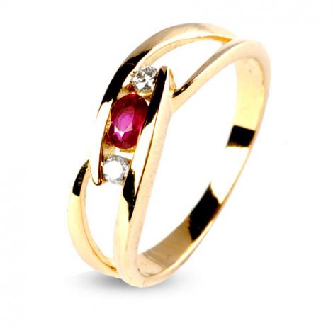 Bague rubis 0.30 ct sertie de deux diamants 0.07 ct diamant  - Rêveuse - 12562-RU