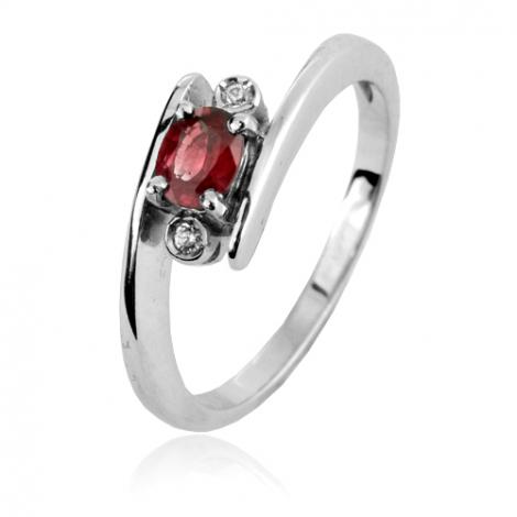 Bague rubis 0.40 ct sertie de diamants 0.04 ct diamant  - Aliya - 10367-RU