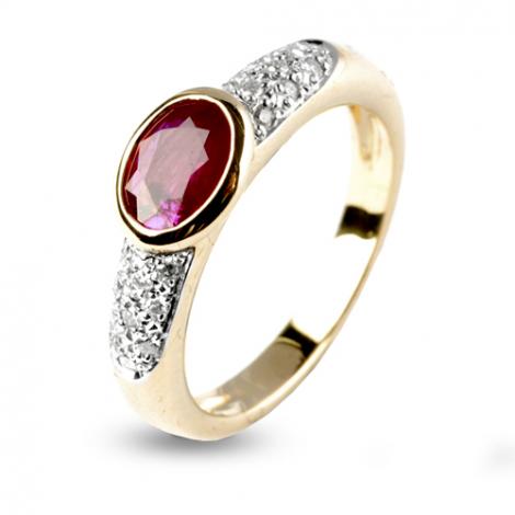 Bague rubis 1 carat sertie de diamants 0.18 ct diamant  - Dream - 12555-RU