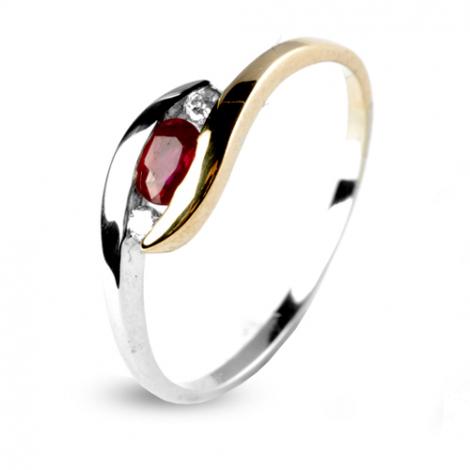 Bague rubis deux ors et diamant diamant  - Meredith - 12574-RU