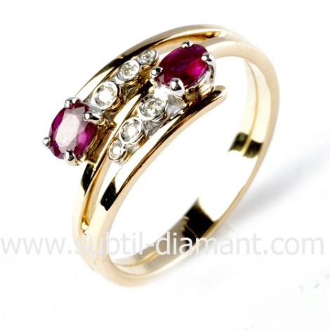 Bague rubis diamant  - Élizabeth - 12580 RU