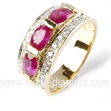 Bague rubis diamant  - Adeline - 11919 RU