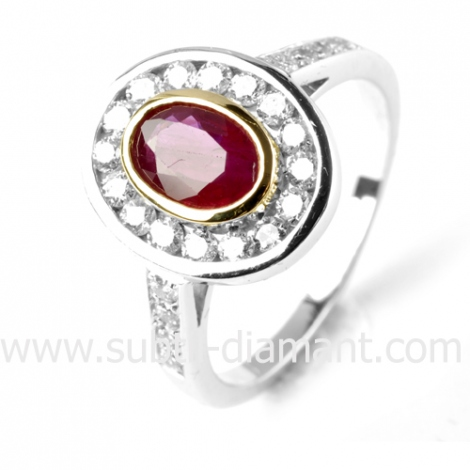 Bague rubis diamant  - Adrienne - 12077 RU