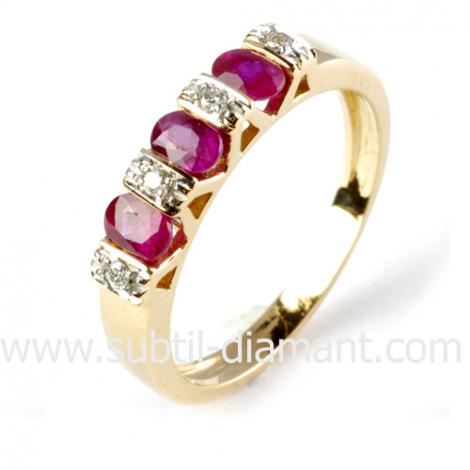 Bague rubis diamant  - Agata - 10558 RU