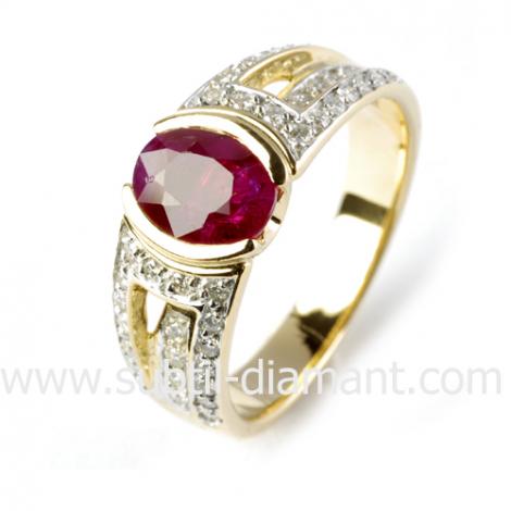 Bague rubis diamant  - Agnessa - 11586 RU
