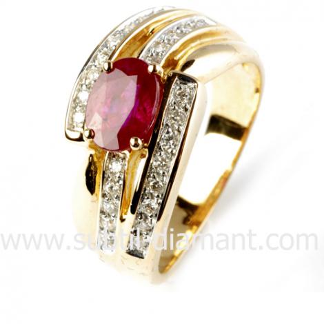 Bague rubis diamant  - Alisa - 12518 RU