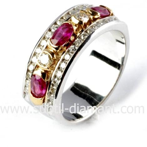 Bague rubis diamant  - Amoureuse - 11627 RU