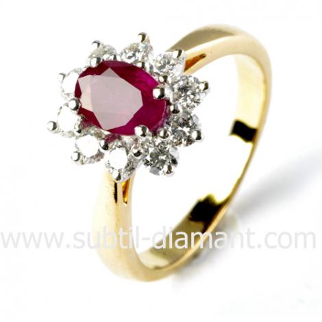 Bague rubis diamant  - Annabelle - 10904 RU