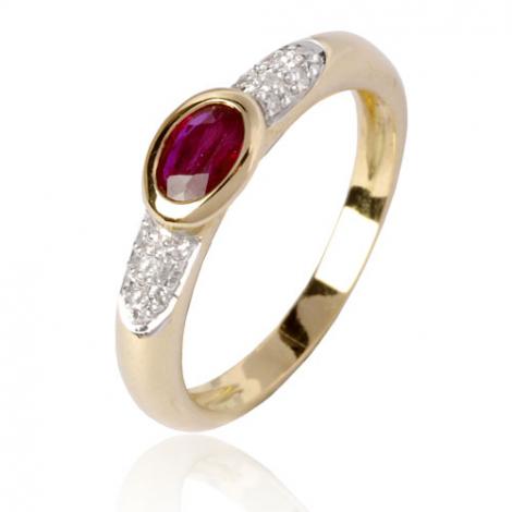 Bague rubis diamant  - Axelle - 12554RU