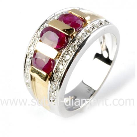 Bague rubis diamant  - Constance - 10965 RU