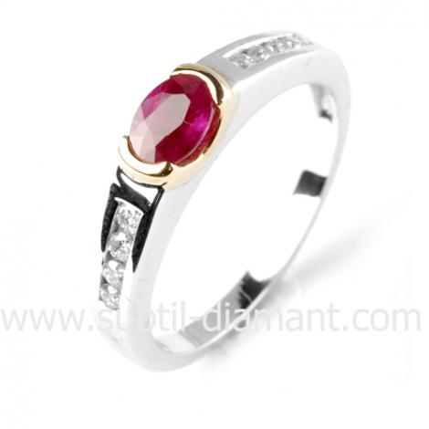 Bague rubis diamant  - Delphes - 12538 RU