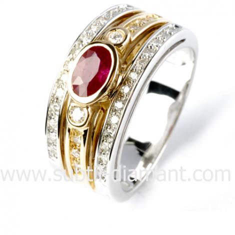 Bague rubis diamant  - Destinée - 12494 RU