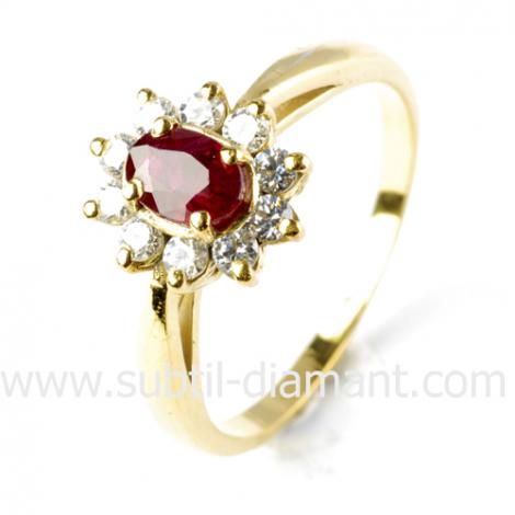 Bague rubis diamant  - Galya - 10383 RU