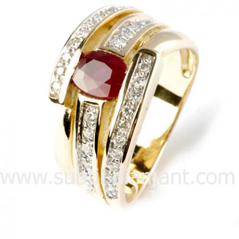 Bague rubis diamant  - Jasmine - 12382 RU
