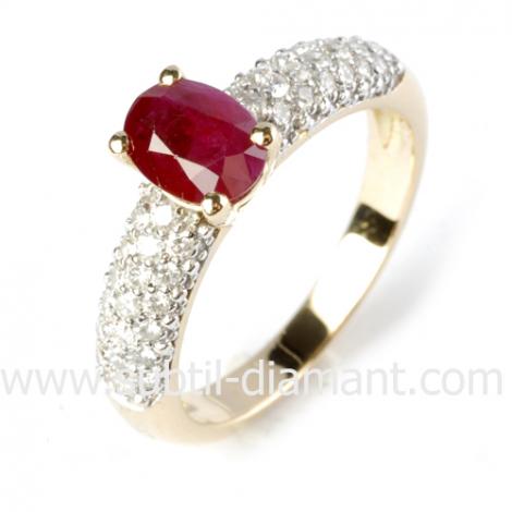 Bague rubis diamant  - Katia - 12361 RU