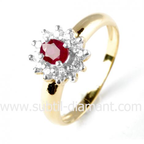 Bague rubis diamant  - Kiera - 8888 RU