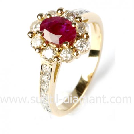 Bague rubis diamant  - Laurianne - 12529 RU