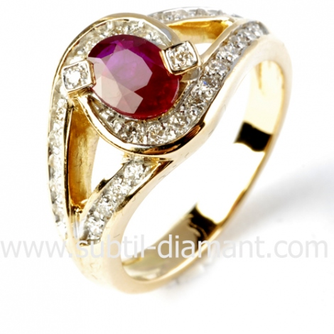 Bague rubis diamant  - Leina - 12379RU