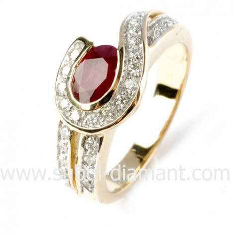 Bague rubis diamant  - Leya - 12377 RU