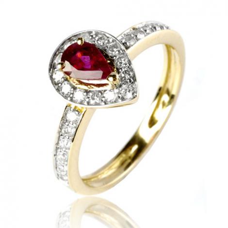 Bague rubis diamant  - Marguerite - 12531 RU