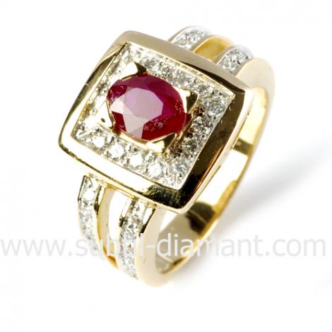 Bague rubis diamant  - Marjolaine - 12386 RU