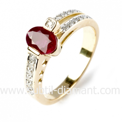 Bague rubis diamant  - Monica - 12378 RU