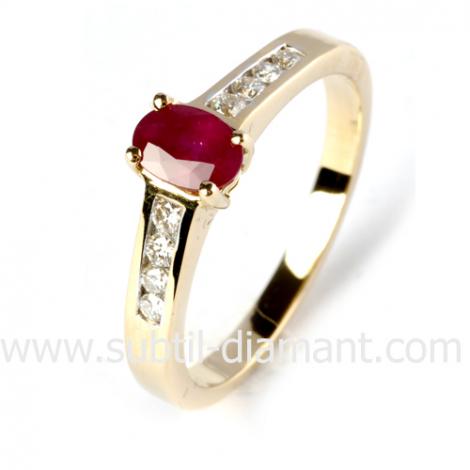 Bague rubis diamant  - Mylie - 12507 RU