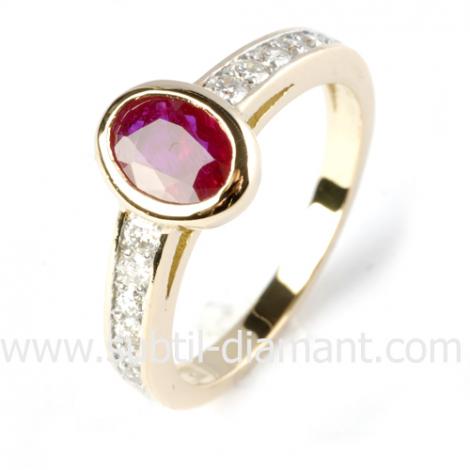 Bague rubis diamant  - Naïla - 12363 RU