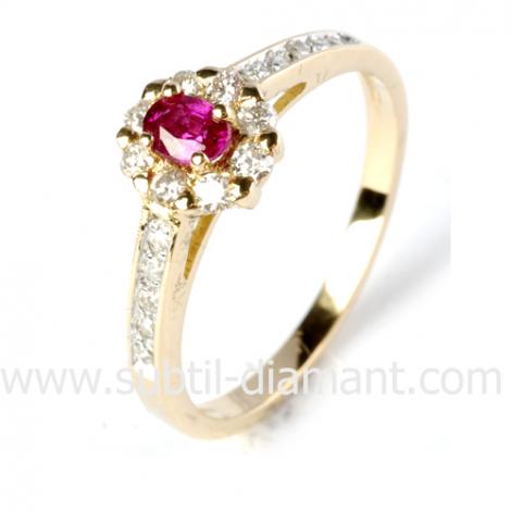 Bague rubis diamant  - Océane - 12526 RU