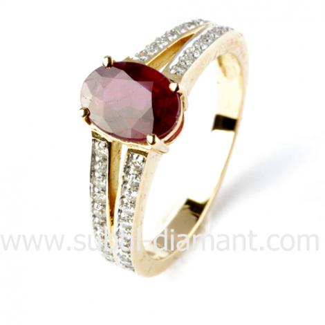 Bague rubis diamant  - Océanie - 12537 RU