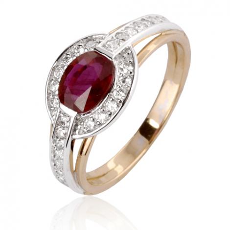 Bague rubis diamant Or 18 ct - 750/1000 - Angela - 12858 RU
