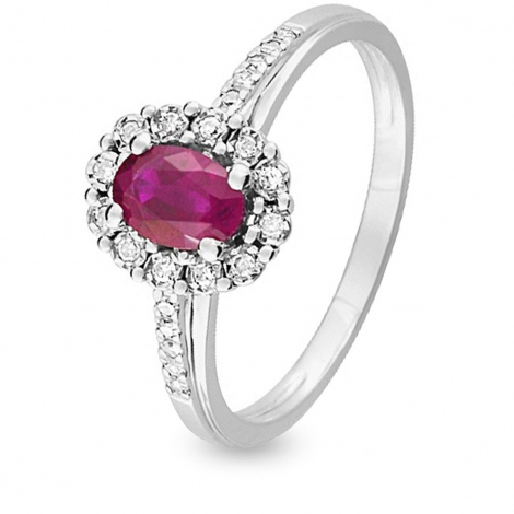 Bague Rubis diamant Or 18 ct - 750/1000 - Candice - KN003GRB4