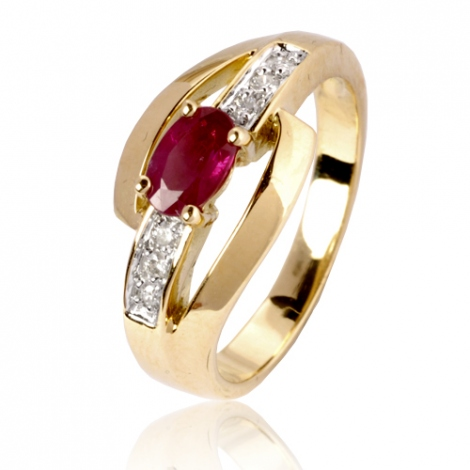 Bague rubis diamant Or 18 ct - 750/1000 - Charlotte - 12800 RU