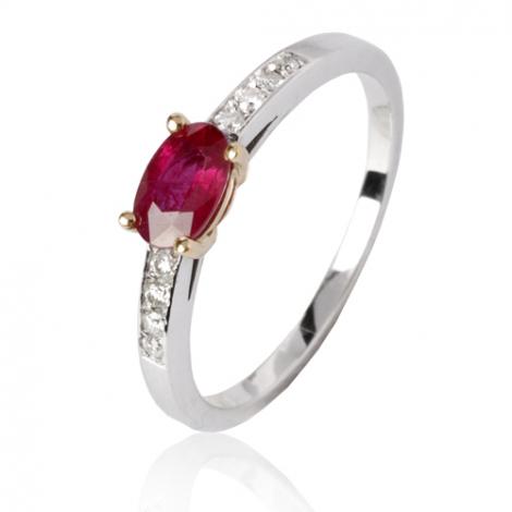Bague rubis diamant Or 18 ct - 750/1000 - Diana - 12082 RU