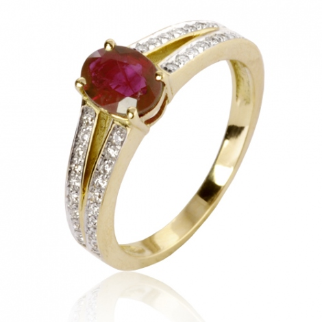 Bague rubis diamant Or 18 ct - 750/1000 - Eliza - 12536 RU