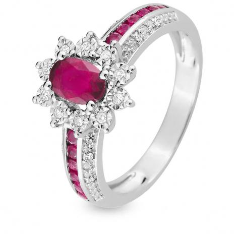 Bague Rubis diamant Or 18 ct - 750/1000 - Geneva - MAB04GRB4