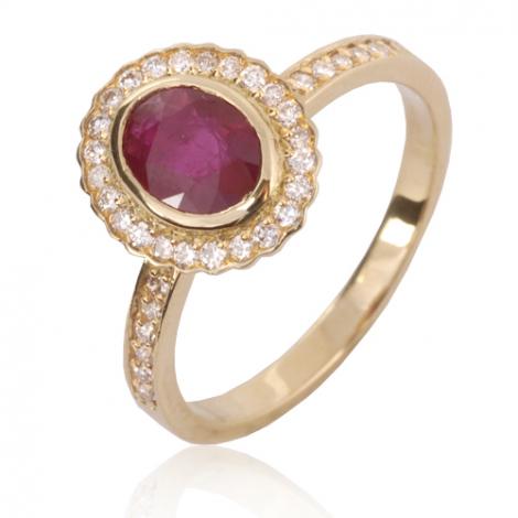 Bague rubis diamant Or 18 ct - 750/1000 - Héléna - 12845-RU