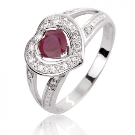 Bague rubis diamant Or 18 ct - 750/1000 - Julie - 12714 RU
