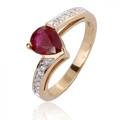 Bague rubis diamant Or 18 ct - 750/1000 - Malika - 12532 RU